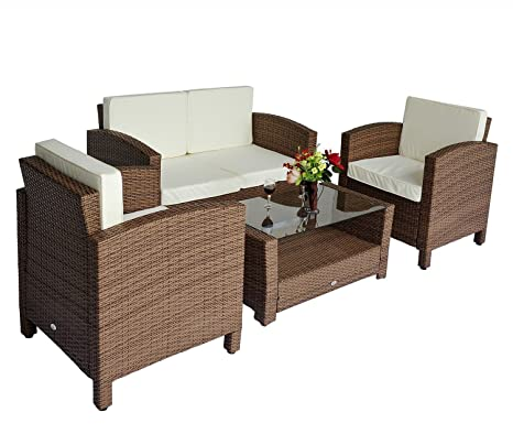 Tavolino Rattan Da Giardino.Outsunny Set Mobili Da Giardino In Poly Rattan 4 Pz Tavolino Divano