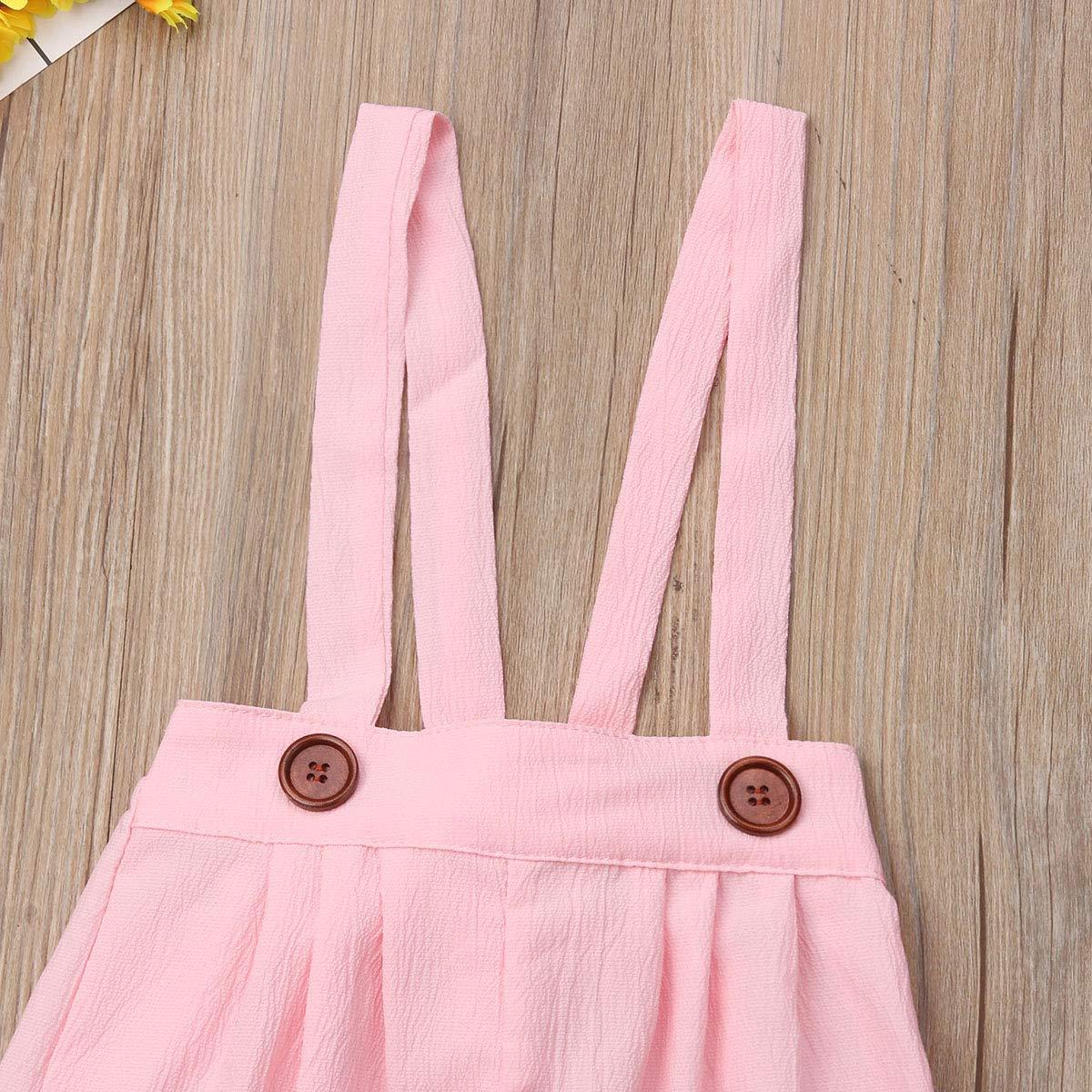 Mubineo Kids Toddler Girl Basic Plain Adjustable Straps Chiffon Wide Leg Suspender Pants