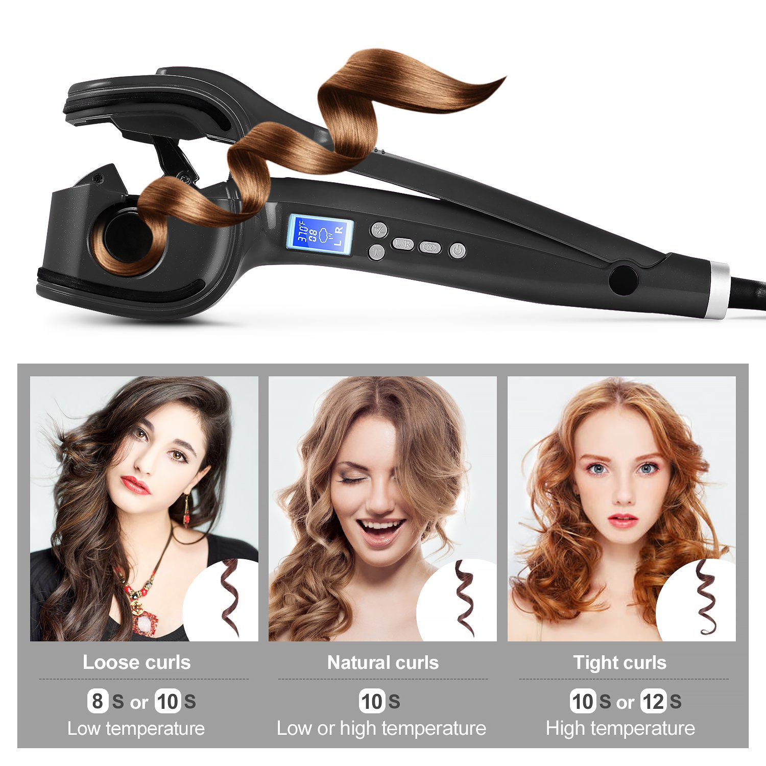 Amazon.com: Natalie Styx Automatic Curler with Steam Function Professional Salon Tools for lady, Black: Beauty