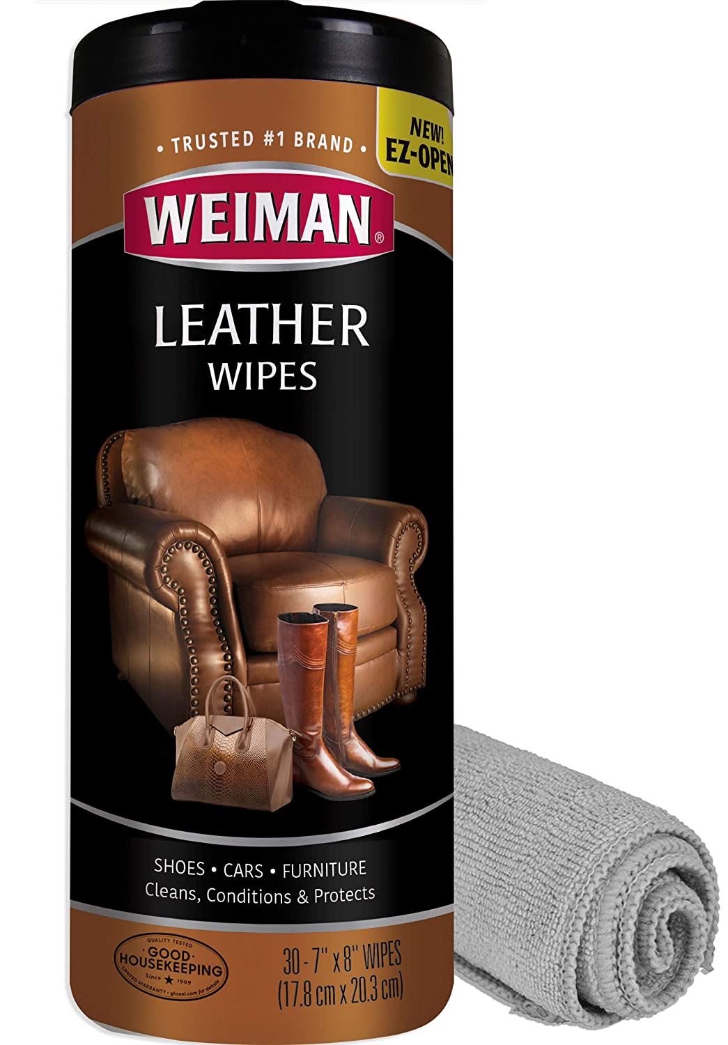 Weiman Leather Cleaner Kit Leather Wipes (30 Count) and Microfiber Cloth - Clean and Condition Car Seats and Interior, Shoes, Couches and Other ...