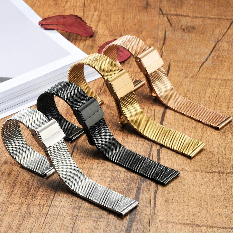 Elonglin Bracelets de Montres en Acier Inoxydable Femme Homme Bracelets de Remplacement pour 12/13/14/16/17/18/19/20/22MM Or 17mm