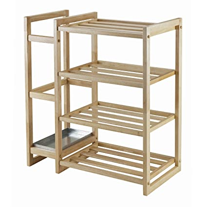 Wonderful Winsome Wood Isabel Shoe Rack With Umbrella Stand And Tray Natural Finish