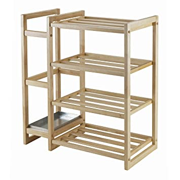 winsome inspiration white shoe cabinet. Winsome Wood Isabel Shoe Rack with Umbrella Stand and Tray Natural Finish Amazon com