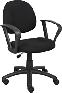 Boss Office Products Perfect Posture Delux Fabric Task Chair with Loop Arms in Black