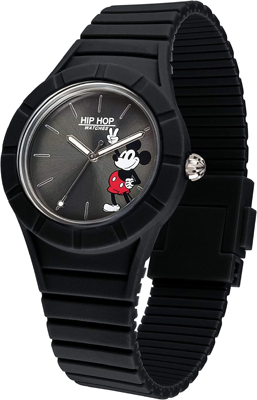 Hip Hop Watches - Reloj para Hombre - Edición Especial Aniversario de Mickey Mouse - Colección Mickey Man - Correa de Silicona - Ceja de 42mm - Impermeable - Negro