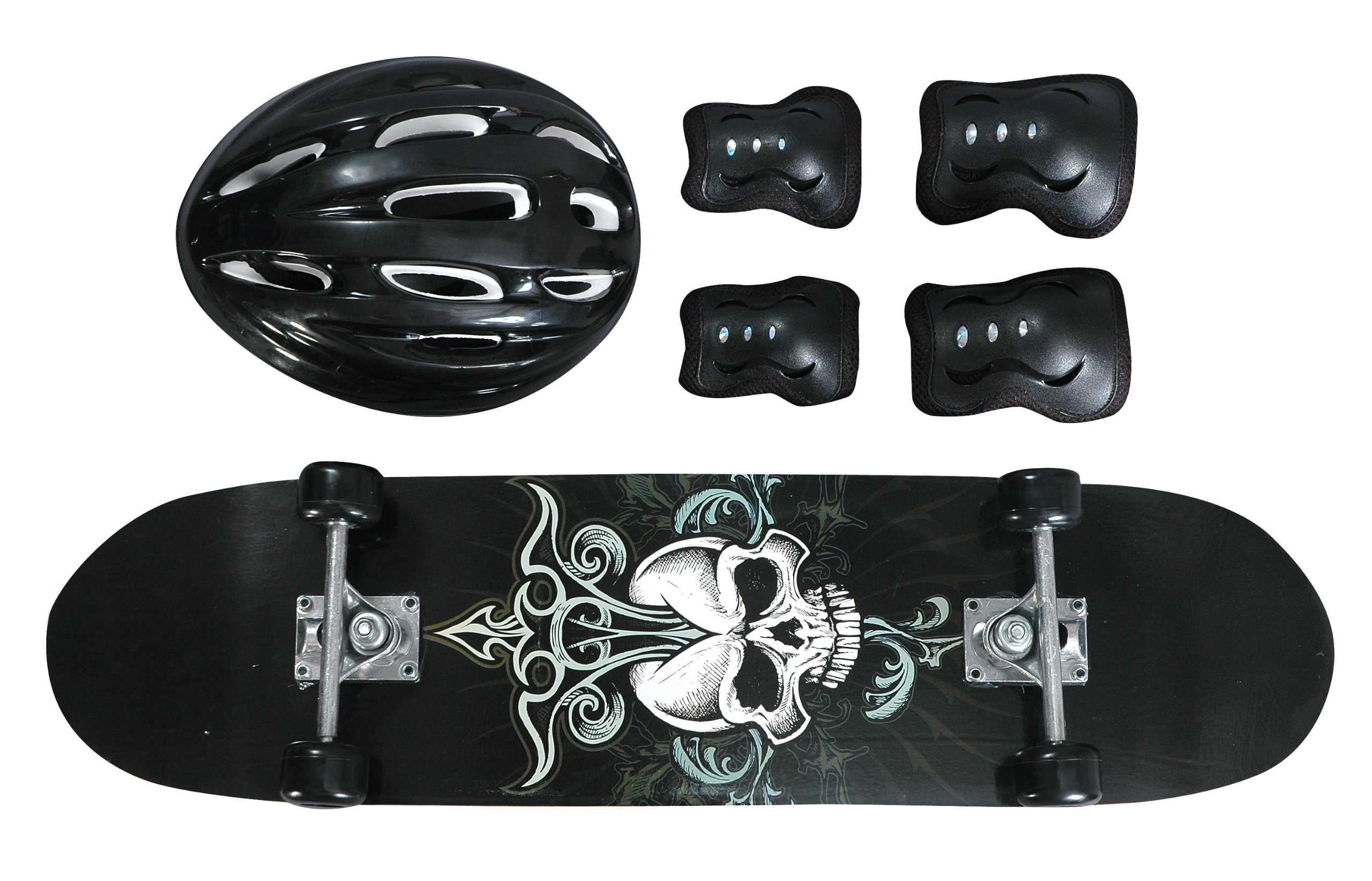 Black Skull Design Youth Skateboard Combo Pack with Board, Helmet, Knee and Elbow Pads