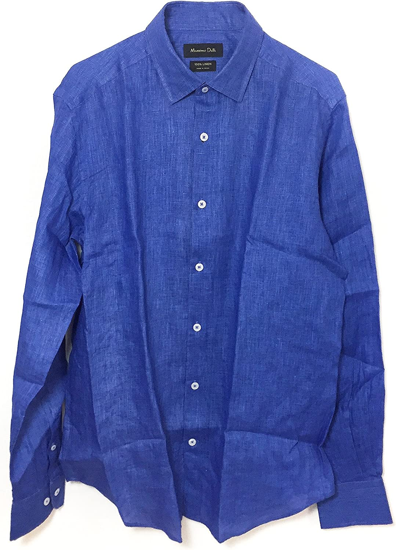 MASSIMO DUTTI Camisa Casual - para Hombre Azul Azul Medium: Amazon.es: Ropa y accesorios