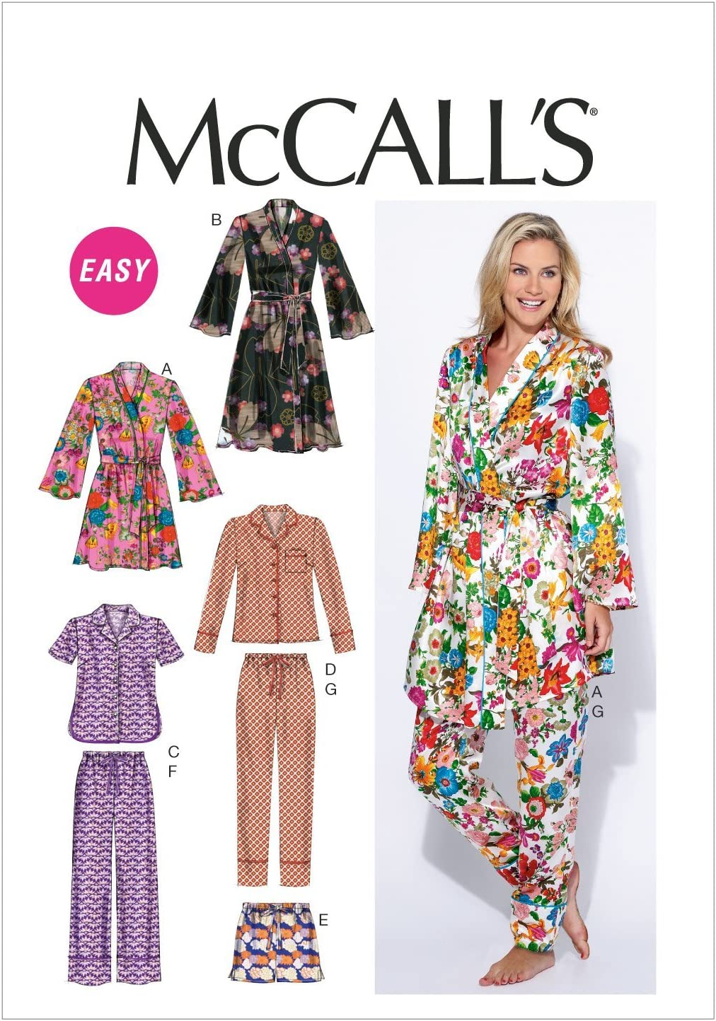 McCalls Patterns M6659 Misses Robe//Belt//Tops//Shorts and Pants Sewing Template Size B5 8-10-12-14-16