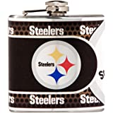 NFL Stainless Steel Hip Flask with Metallic Graphics, 6-Ounce, Silver