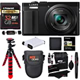 Panasonic ZS60 Lumix 4k Digital Camera 18 MP 24-720mm LEICA DC Lens Black + Transcend 32 GB Memory Card + Tripod + Battery + Lowepro Case + Ritz Gear Cleaning Kit + Polaroid Wallet + Accessory Bundle