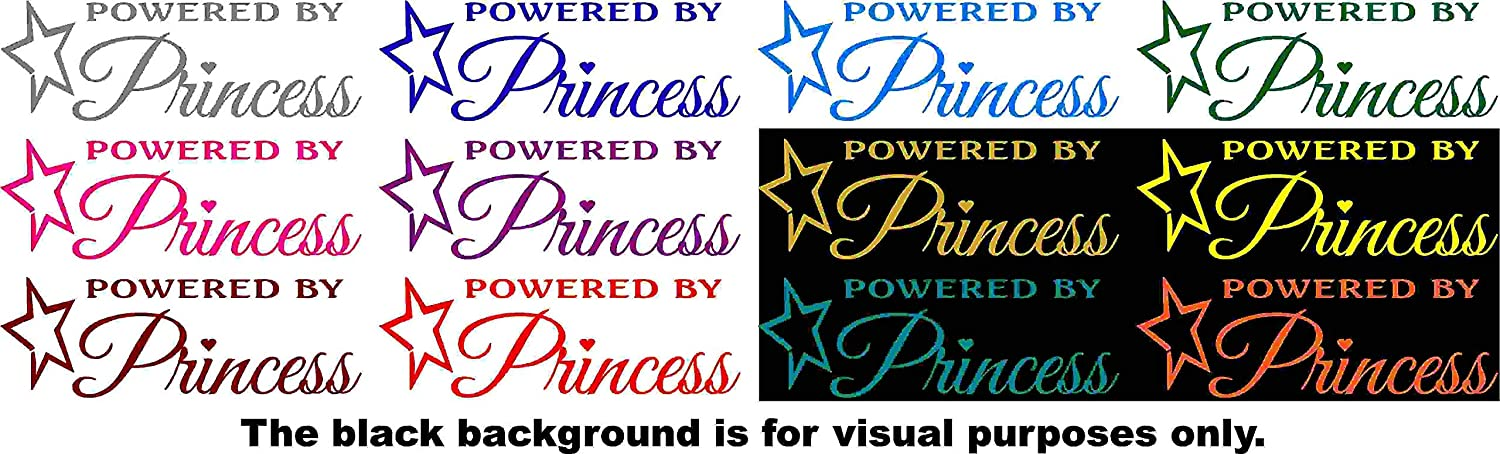 Powered By Princess Car Window Tumblers Wall Decal Sticker Vinyl Laptops Cellphones Phones Tablets Ipads Helmets Motorcycles Computer Towers V and T Gifts