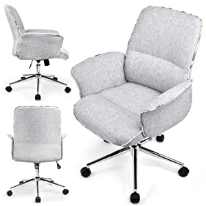COMHOMA Home Office Desk Chair Modern Fabric Upholstered Adjustable Mid-Back Ergonomic Executive Conference Chair Gray