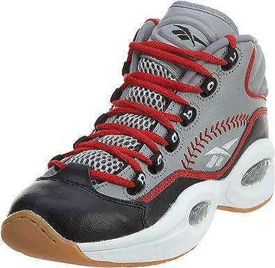 Reebok Question Mid Practice Big Kids Shoes Grey//Black//White//Scarlet v70407