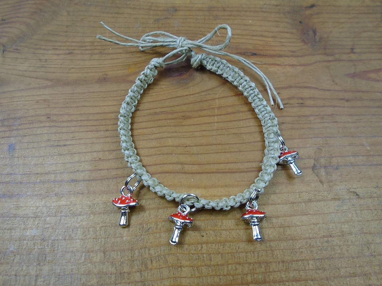 BEACH HEMP JEWELRY Mushroom Anklet Bracelet Black Adjustable Handmade In USA