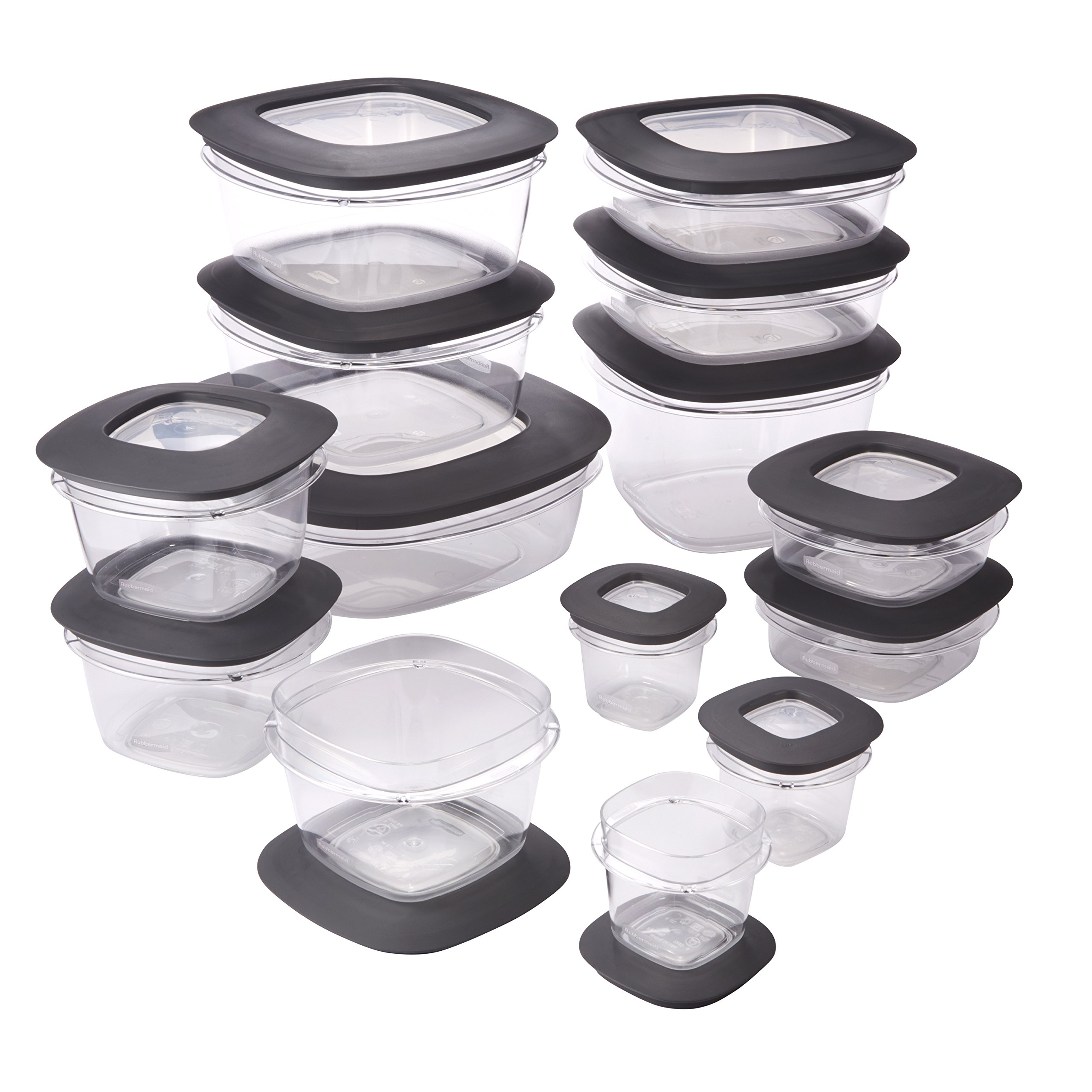 Rubbermaid Premier Easy Find Lids Food Storage Containers, Gray, Set of 28 1951294