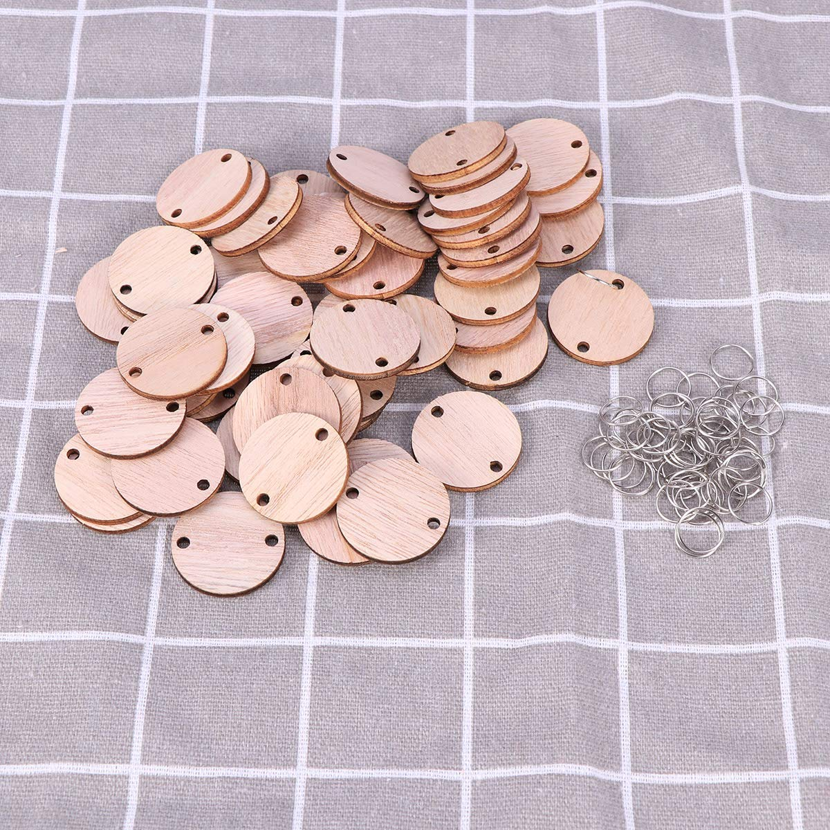 Wood Grain 100pcs Wooden Board Tags Round Wooden Discs Wooden Circles with Holes and 100 Iron Loops Rings