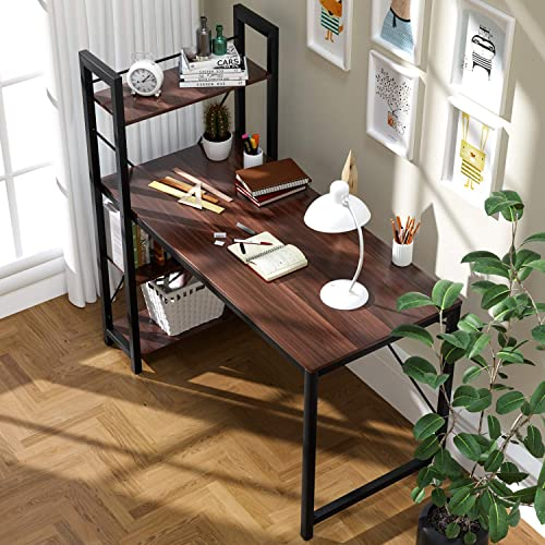 VADIM Computer Desk with Shelves Writing Desk Bedroom Study Table Office Desk Workstation with 4 Tier Bookshelf Storage 47.24 x 23.6 x 29.5 inches MDF Wood Desk for Study Room, Bedroom,Walnut
