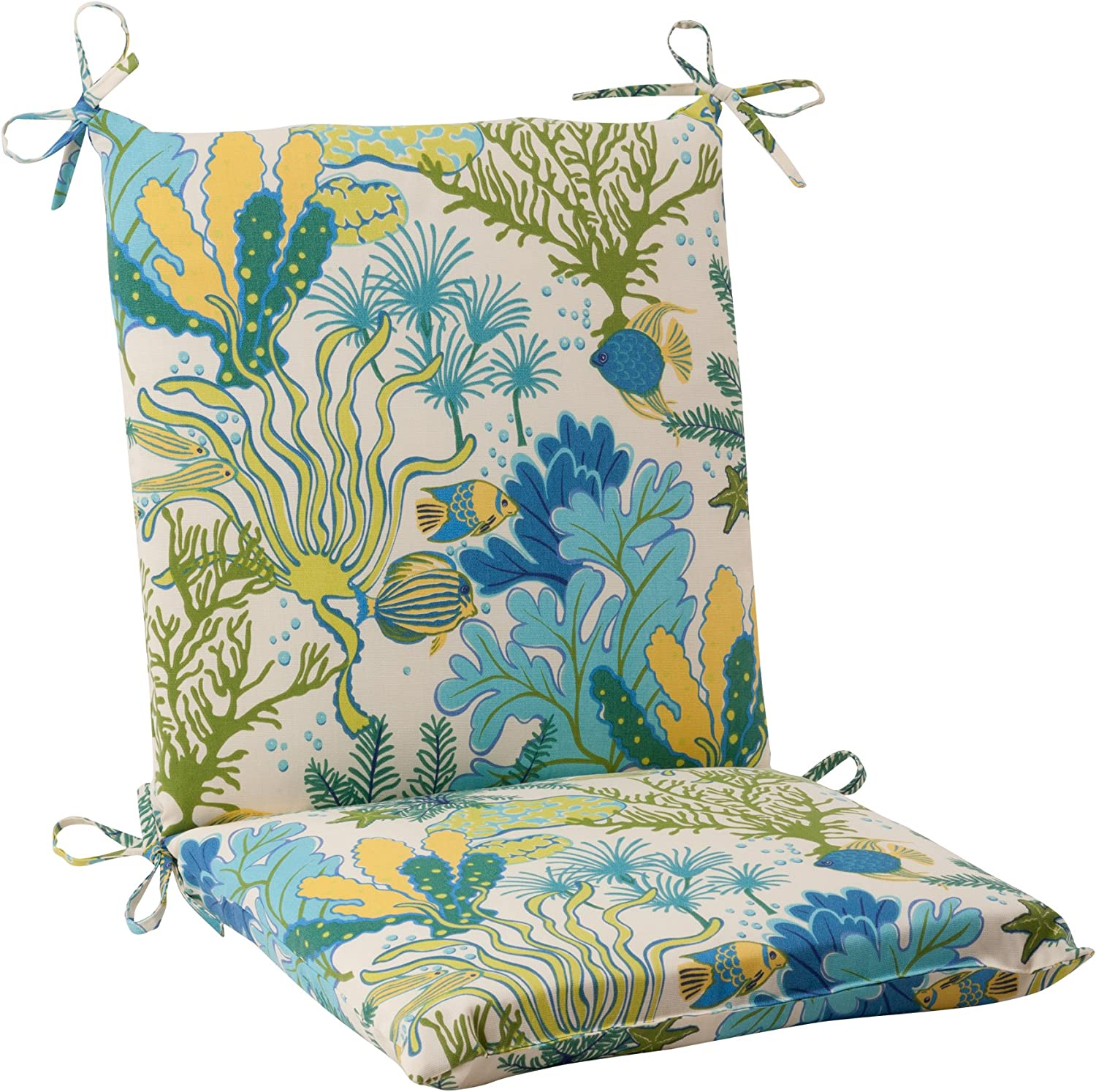 Pillow Perfect Outdoor Splish Splash Squared Chair Cushion, Blue