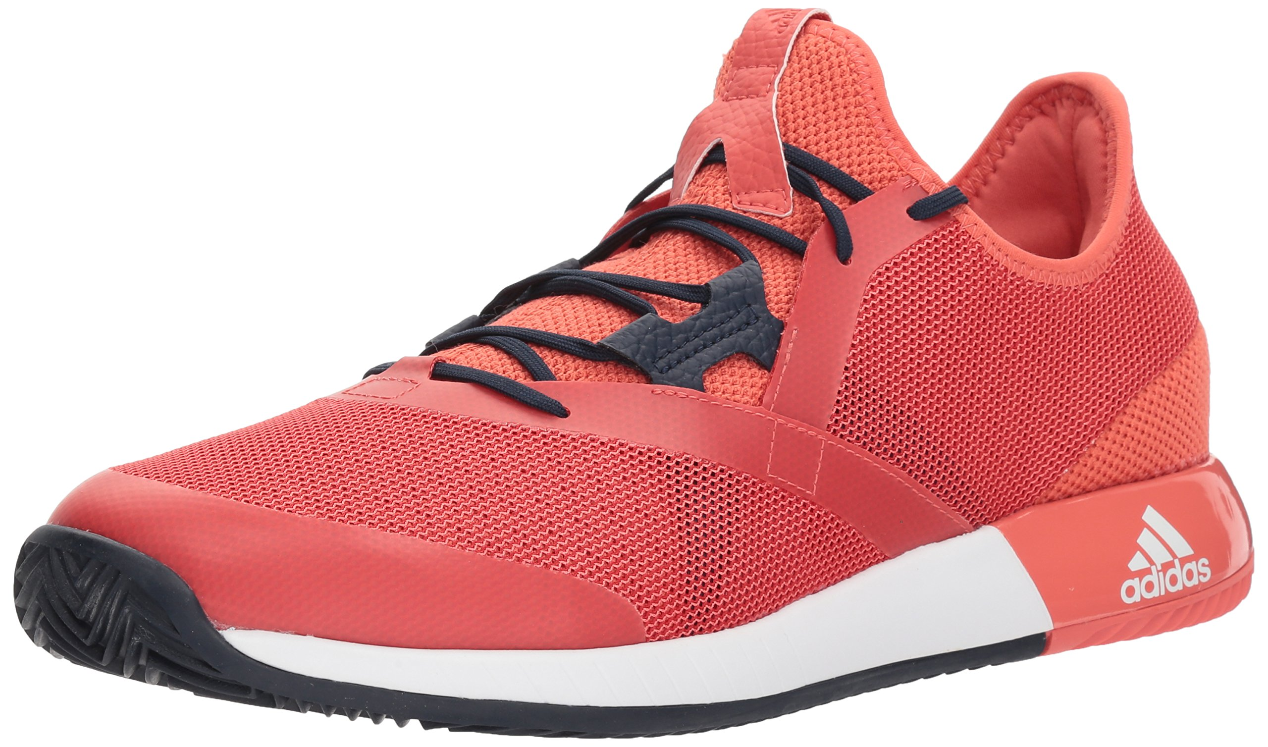 adidas Men's Adizero Defiant Bounce Tennis Shoe, Trace Scarlet/White/Night Navy, 10 M US