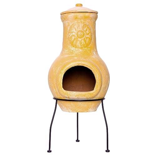Nexos Terrassenofen Gartenkamin Terracotta 77 cm Gartenofen Yaqui Stahlgestell Feueröffnung 17x13 cm Schlot 22x15 cm robust 16 kg