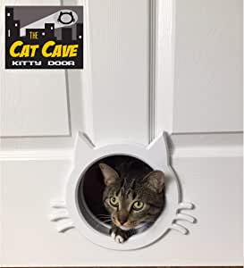 The Cat Cave Interior cat Door (White)
