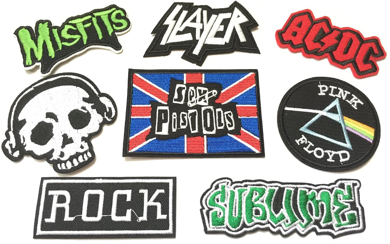 Super save pack set patch of Iron on Patches#15, Rock Patch, AC DC ACDC Patch, PINK FLOYD Music Band Patch, Misfits Patch, Skull Patch, Sublime Patch, SLAYER, Sex Pistols Patch Embroidered Iron by BossBee Thailand