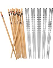 Hiware 10 Pairs Reusable Chopsticks Set Include 5 Pairs Metal Stainless Steel Spiral Chopsticks and 5 Pairs Natural Bamboo Chopsticks 8.8 Inches, Easy to Hold
