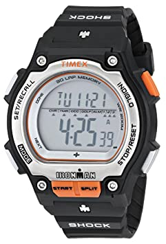 Amazon.com: Timex Mens T5K585 Ironman Traditional Shock Steel 30-Lap Orange Resin Strap Watch: Timex: Watches