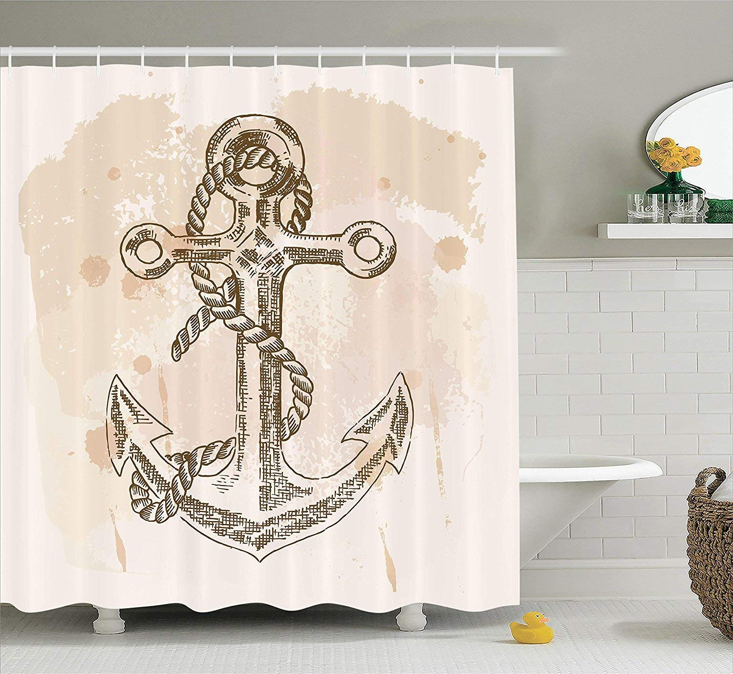 Diversión Shower sexy werert Anchor Decor Shower Diversión Curtain Set, Illustration of Anchor and Rope on Stained Background Navy Summer Holiday Freedom Print, Bathroom Accessories,Cream Marrón 60 X 72 cef8f9