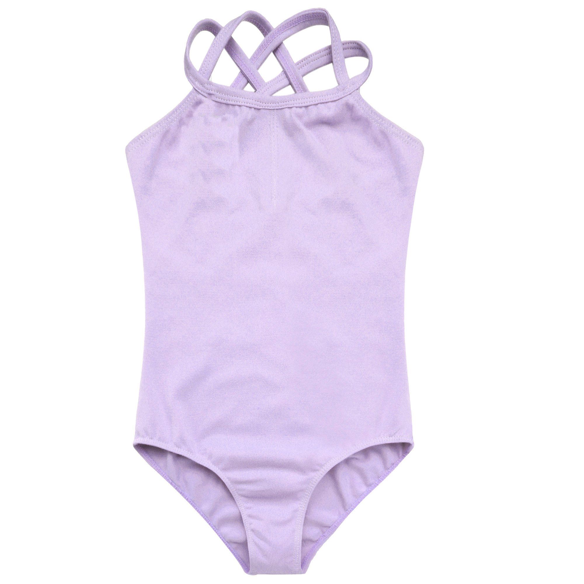 Arshiner Kids Girl's Double Strap Slim Solid Camisole Leotard (130(Age: 5-6Y), Purple)