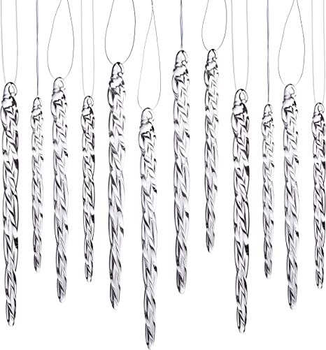 Klikel Glass Icicle Ornaments Winter Decorations For Christmas Tree Total 36 Hanging Ornaments 18 4 And 18 6 Home Kitchen