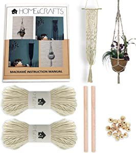 Macrame Kit, DUAL Plant & Wall Hanging Kit - 328 Feet 100M 3mm Macrame Cord with Dowel, Beads and 4 Design Instruction Book, Plant Hanger Kit and Wall Hanging Kit for DIY Crafts, Starter Kit (Natural)