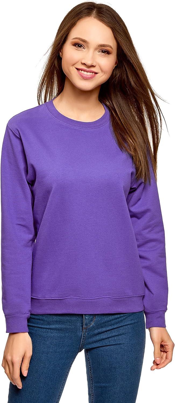 oodji Ultra Femme Sweat-Shirt Ample en Coton