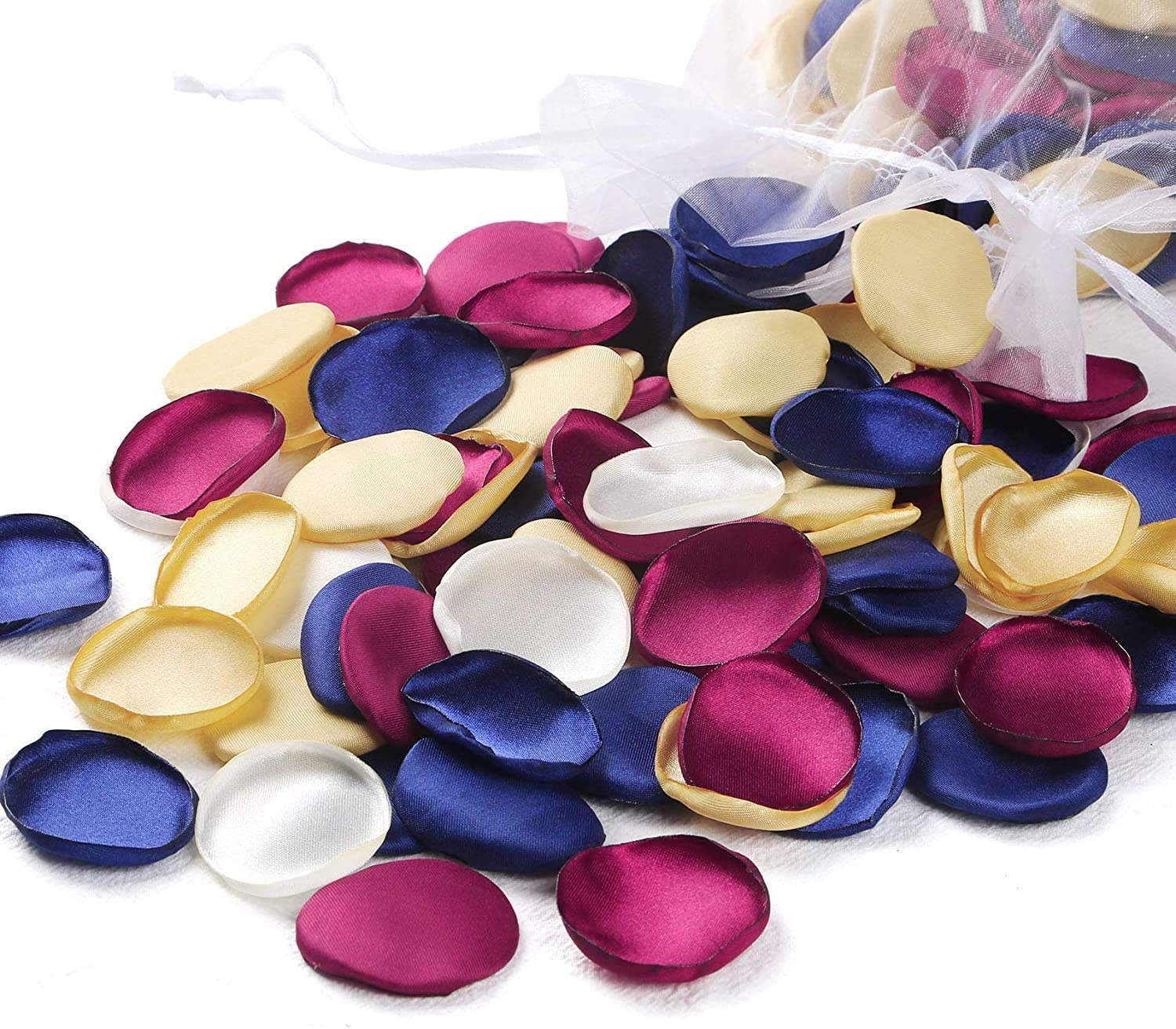 ponatia 300PCS Rose Petals Mixed Color Artificial Flowers Petals for Wedding Flower Girl Basket Aisle Centerpieces Table Confetti Party Favors Home Decoration (Navy Blue/Burgundy/Gold/Ivory)