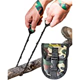 Pocket Chainsaw by SOS Gear, Emergency Survival Gear Hand Saw with Camo Pouch, Snap Closure and Belt Loop for Campers, Hunters, Fisherman and Backpackers
