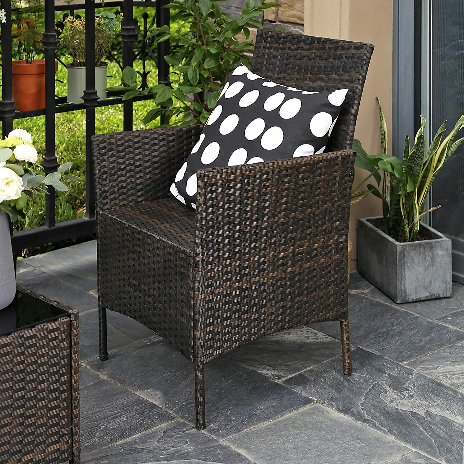 Patio Furniture Set with 2 Chairs Brown and Beige GGF002BR1 3 Removable Covers SONGMICS Set of 4 Polyrattan Garden Furniture 1 Coffee Table with Tempered Glass Top 1 Sofa