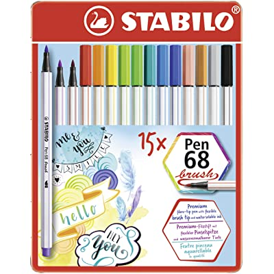Premium Fibre-Tip Pen - STABILO Pen 68 brush Tin of 15 Assorted Colours: Office Products