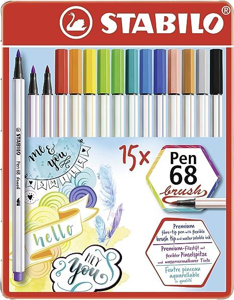 con 8 colori assortiti STABILO Pen 68 brush Pack da 8 Pennarello Premium con punta a pennello per linee spesse e sottili