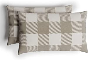 "Barnyard Designs Decorative Buffalo Plaid Lumbar Throw Pillows for Couch, Pillowcase and Cushion Insert Included, Boho Farmhouse Home Decor, Beige and Ivory, 12"" x 20"", Set of 2"