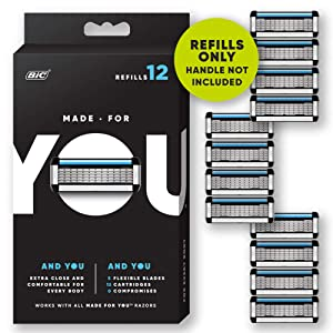 Made for YOU by BIC Shaving Razor Blades forEvery Body -Men and Women, 12 Count - Refill Cartridges with 5 Blades for aClose Shave with Aloe Vera and Vitamin E for Smooth Glide