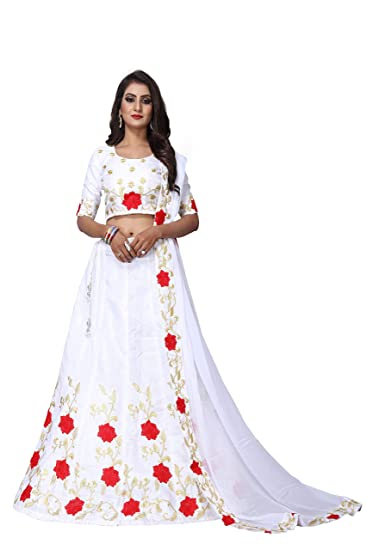 9e1d50859e V.K.Creation Women's White Silk Embroidery Semi-Stitched Lahengha Choli