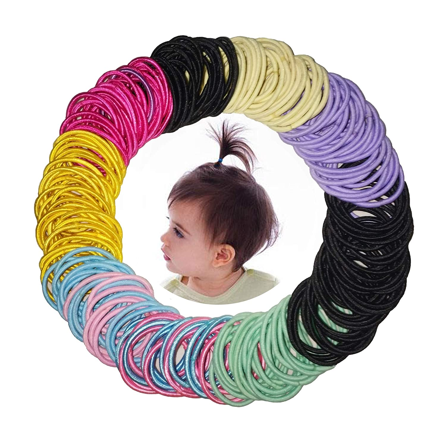 300 Pcs Baby Girls Hair Ties - Small Size Elastic Hair Ties for Baby Girls Infants Toddlers Multicolor Hair Bands Elastic Ponytail Holder