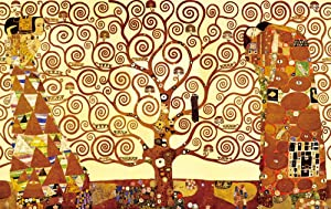 Wieco Art Tree of Life Modern Gallery Wrapped Giclee Canvas Print by Gustav Klimt Classical Oil Paintings Pictures on Canvas Wall Art Work for Living Room Bedroom Kitchen Dining Room Home Decor