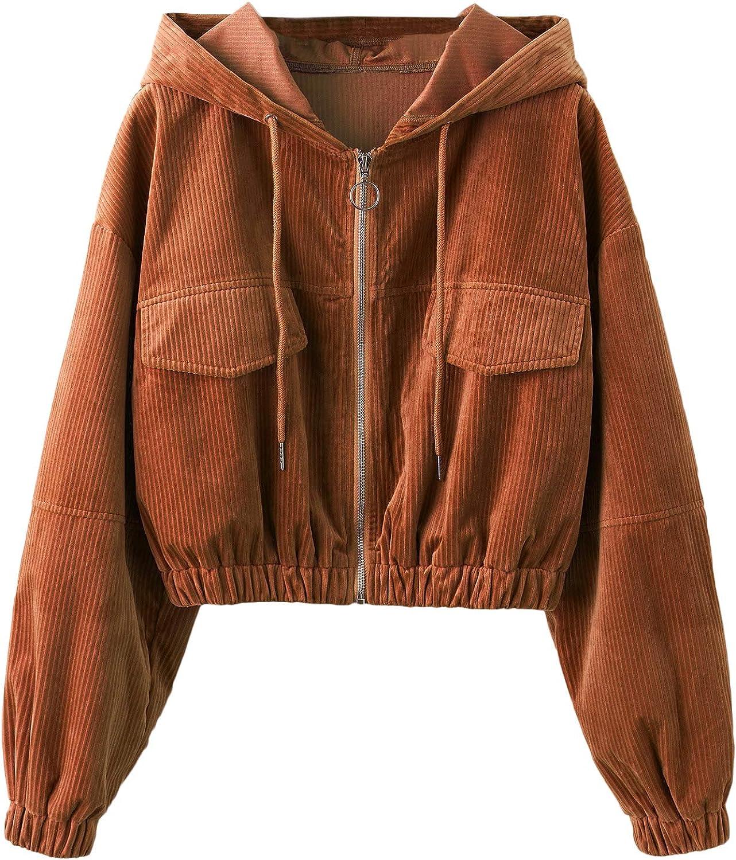 Floerns Women's Zip Up Corduroy Hooded Cropped Jacket Drop Shoulder Coat with Pockets