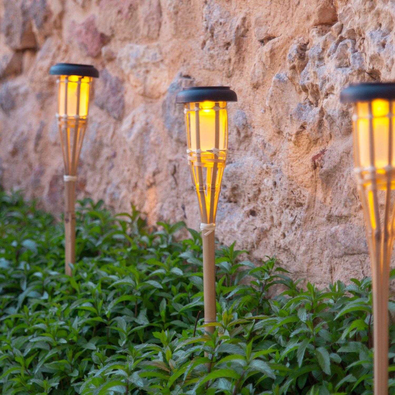 Conjunto de 2 antorchas LED solares de jardín de bambú de 58 cm de ...