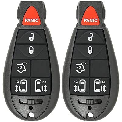 Mushan Pack of 2 Keyless Entry 6 Button Key Remote Control Replacement Fob Transmitter Fits For 2008-2015 Chrysler Town & Country, 2008-2010 Dodge Ram 1500 2500 3500,2008-2013 Jeep Grand Cherokee: Automotive