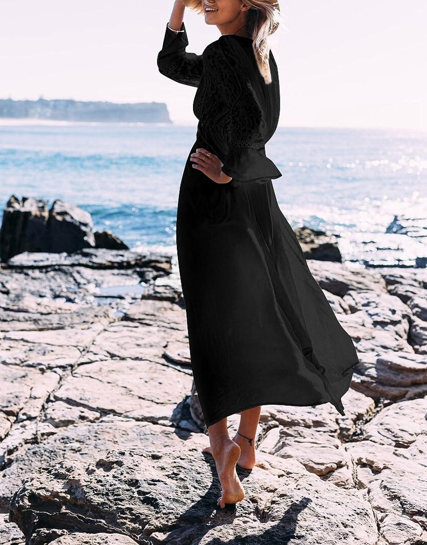 ASSKDAN Femme Boh/ême Dentelle Tassel Coton Cover up Bikini Robe de Plage Maxi-Longue Manche Longue