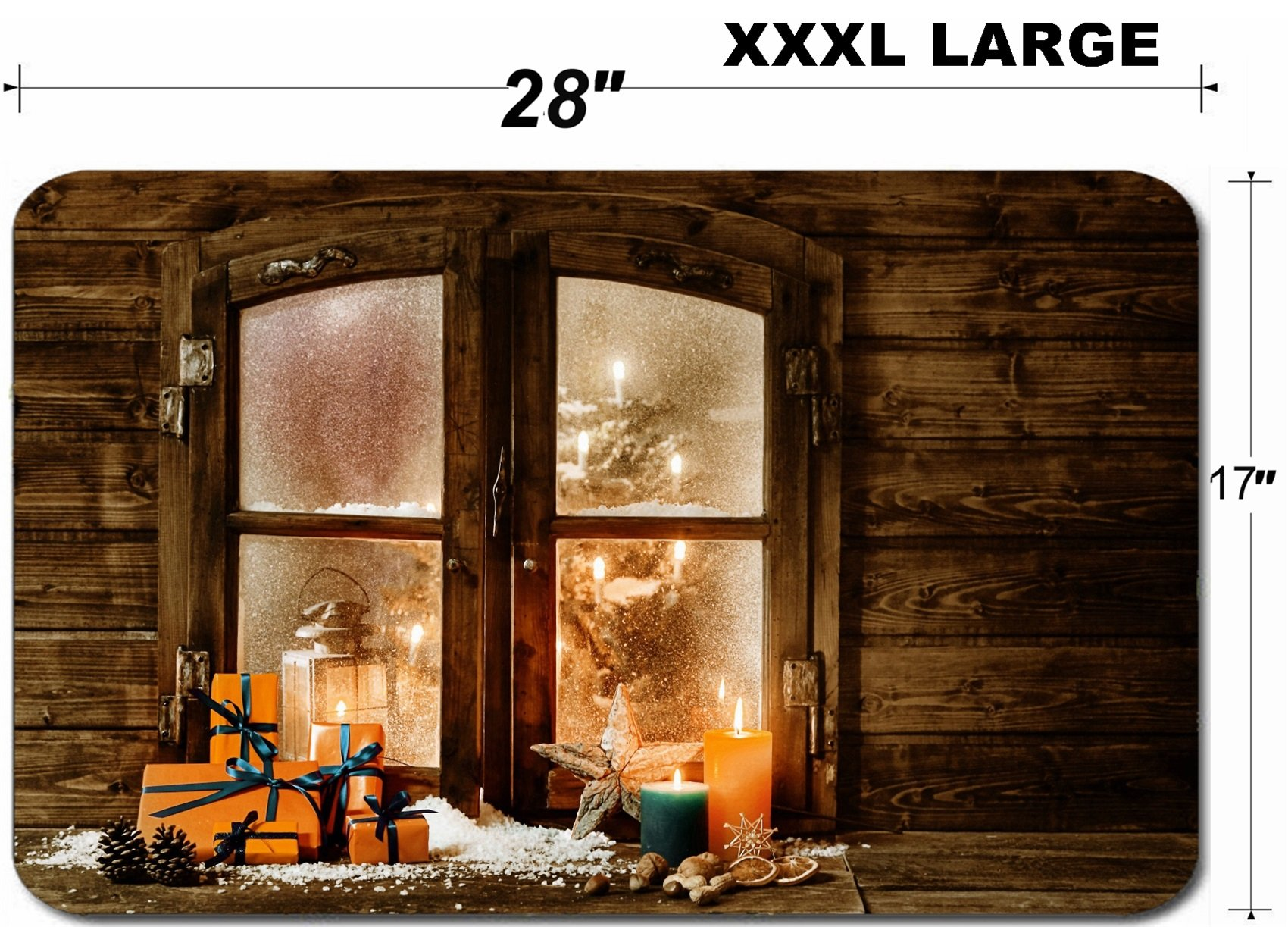 Liili Large Table Mat Non-Slip Natural Rubber Desk Pads IMAGE ID 32279256 Festive wooden Christmas cabin window with gift wrapped colorful orange presents burning