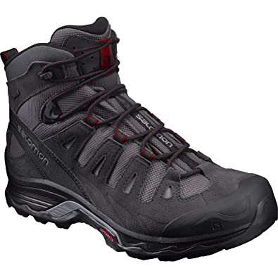 Salomon Men's Quest Prime GTX Backpacking Boot, Magnet/Black/Red Dalhia, 7