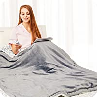 "Electric Heated Blanket Throw Flannel Sherpa Fast Heating 50""x60"", 10 Heating Levels & Up-to-9-Hours Auto-Off Timer…"